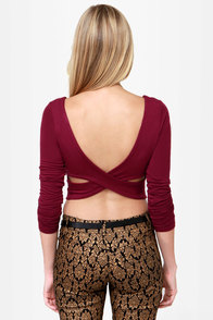 The Crop-osition Wine Red Crop Top at Lulus.com!