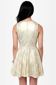 Luck Be a Lacy Ivory and Gold Lace Dress at Lulus.com!