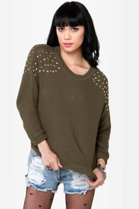 Stud Ahead Olive Green Studded Sweater at Lulus.com!