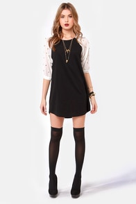 Lookin' Sharp Studded Ivory and Black Shift Dress at Lulus.com!