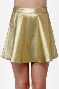 Smart Aleck Metallic Gold Mini Skirt at Lulus.com!