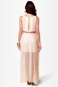 Midnight Voyage Blush Beaded High-Low Dress at Lulus.com!