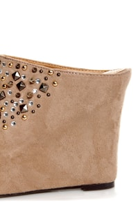 Burt Taupe Rhinestone and Spike Studded Mule Wedges at Lulus.com!