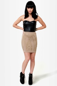 Stunning Studs Black and Beige Dress at Lulus.com!