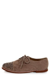 Kelley 12 Taupe Studded Lace-Up Oxfords
