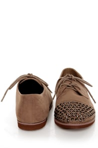 Kelley 12 Taupe Studded Lace-Up Oxfords at Lulus.com!