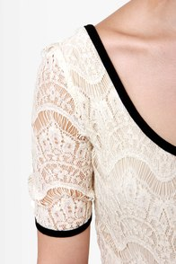 Love Me Tender Cream and Black Dress at Lulus.com!