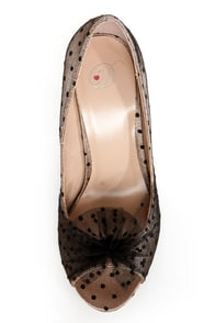 My Delicious Rakel Champagne and Black Dotted Peep Toe Pumps at Lulus.com!