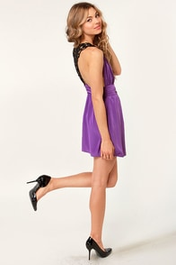 Embroid-ee of the Month Purple Lace Dress at Lulus.com!