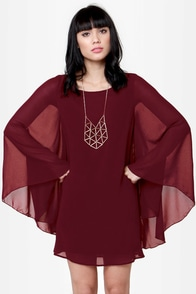 Domestic Goddess Wine Red Shift Dress at Lulus.com!
