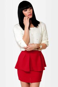 Peplum Lovin' Red Mini Skirt
