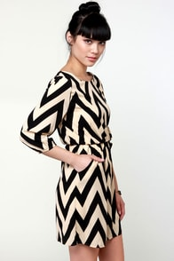 Ziggety Split Black and Beige Dress at Lulus.com!