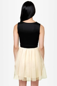 Swing on a Star Black and Cream Dress at Lulus.com!