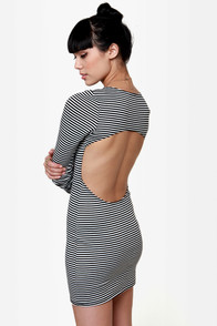 Four Winds Black and White Striped Dress at Lulus.com!