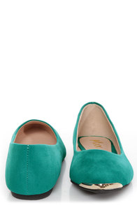 Mixx Shuz Ian Teal Gold-Toed Pointed Flats at Lulus.com!