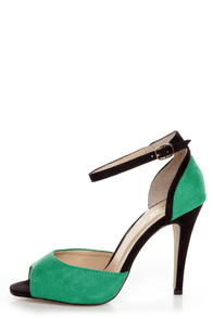 Mixx Shuz Sheila Green and Black Two Piece Peep Toe Heels