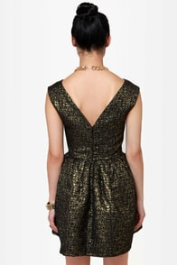 Gold Fleck-tacular Brocade Dress at Lulus.com!