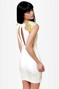 Golden Times Ivory Beaded Dress at Lulus.com!