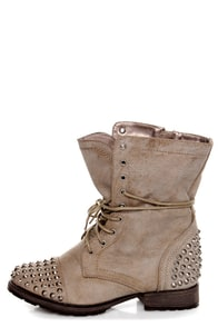 Georgia 28 Ice Taupe Studded Lace-Up Combat Boots