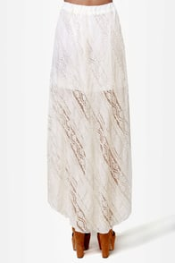 Sweeten the Deal Ivory High-Low Lace Skirt at Lulus.com!