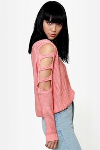 Pick Me Up Cutout Pink Sweater at Lulus.com!
