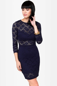 The Space Between Navy Blue Lace Dress at Lulus.com!