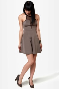 Skip to the Plunge-line Grey Dress at Lulus.com!