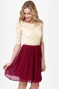 All My Lovin' Beige and Burgundy Lace Dress at Lulus.com!