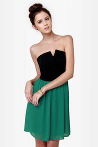 Run Me Jagged Strapless Black and Teal Dress at Lulus.com!