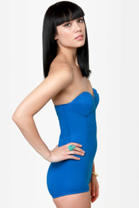 Motel Hillary Strapless Blue Bodysuit at Lulus.com!