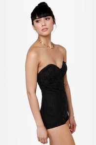Motel Hillary Strapless Black Lace Bodysuit at Lulus.com!