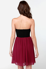 Run Me Jagged Strapless Black and Burgundy Dress at Lulus.com!