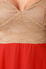 Ta-ra-ra Bustier! Taupe and Red Dress at Lulus.com!