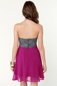 Ta-ra-ra Bustier! Grey and Magenta Dress at Lulus.com!