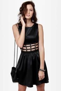 Chain Check Black Cutout Dress at Lulus.com!