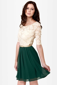 All My Lovin' Beige and Dark Green Lace Dress at Lulus.com!