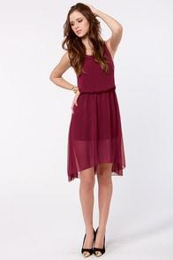 Highs and Merlots Studded Burgundy Dress at Lulus.com!