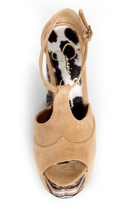 Jessica Simpson Dany Nude Suede T Strap Glitter Platform Heels at Lulus.com!