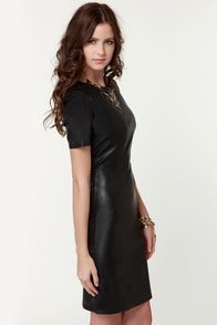 Leather Frock-ing Tale Black Vegan Leather Dress at Lulus.com!