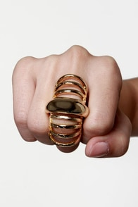 Armor Candy Gold Knuckle Ring at Lulus.com!