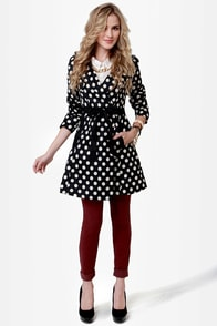 When in Dot Polka Dot Trench Coat