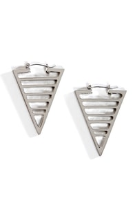Space Age Silver Triangle Earrings at Lulus.com!