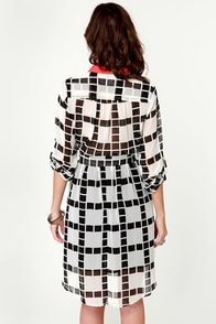 Squared Away Black and Ivory Print Dress at Lulus.com!