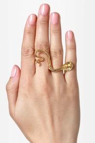 Great Snakes Gold Two-Finger Snake Ring