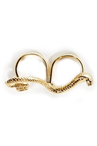 Great Snakes Gold Two-Finger Snake Ring at Lulus.com!