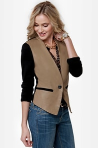 Vested Interest Black and Taupe Jacket at Lulus.com!