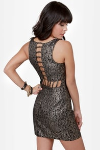 Brocade Games Cutout Brocade Dress at Lulus.com!