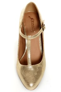 GoMax Roxanne 01X Gold Metallic T-Strap Pumps at Lulus.com!