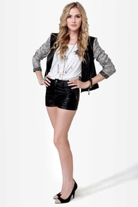 Show-Chopper Black Vegan Leather Shorts at Lulus.com!