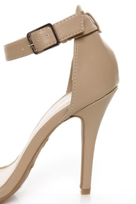 Anne Michelle Enzo 01 Nude Ankle Strap Heels at Lulus.com!